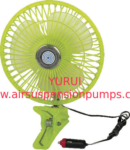 "Plastic Green Car Cooling Fan Full Safety Plastic Guard  8"" Oscillating"