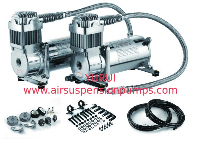 Fast Inflation Silver Steel Dual Air Suspension Compressor  for car 4.5 CFM 150PSI